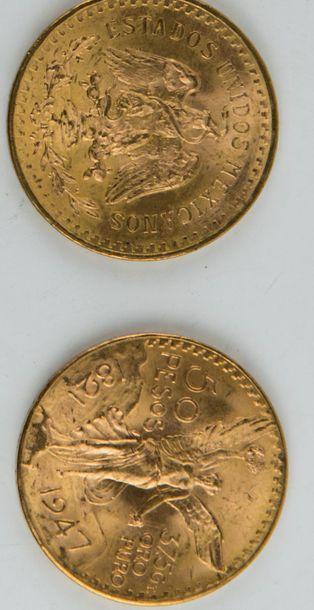 Deux pièces or 50 pesos Mexicanos de1947...
