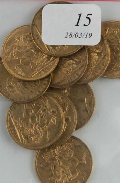 Onze pièces or souverains anglais - Victoria...