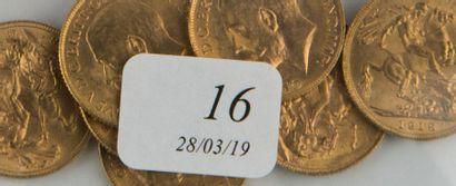 Sept pièces or souverains anglais - Georges...
