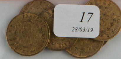 Six pièces or 20 FF Napoléon III de 1854...
