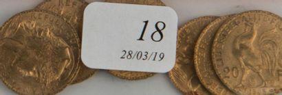 Six pièces or 20 FF République de 1904 -...