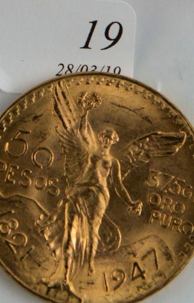 Pièce or 50 pesos Mexicanos de 1947