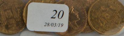 Cinq pièces or 20 FF de 1870-1910-1867-1...