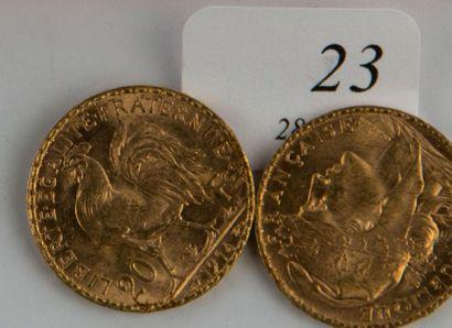 Deux pièces or 20 FF République de 1904-...