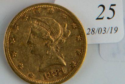 Pièce or 10 $ USA de 1881