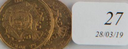 Deux pièces or 20 F Belges Léopold II de...