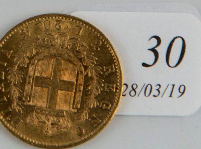 Pièce or 20 lires Victor Emmanuel II de ...
