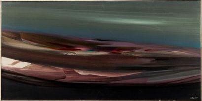 Paulette BACON (née en 1927). La vague. Huile...
