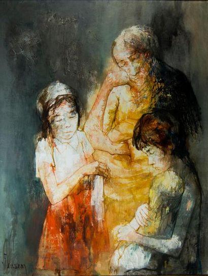 Jean JANSEM (1920-2013). La famille. Huile...