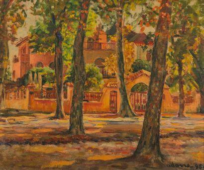 ADONE (XXème). Place aux arbres. 1945. Huile...