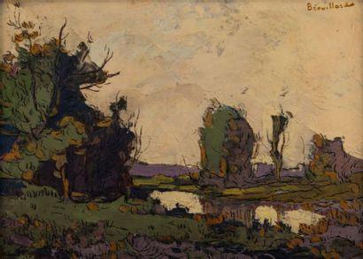 Eugène BROUILLARD (1870-1950). Paysage lacustre....
