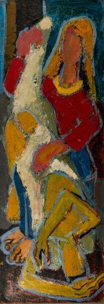 Pierre AMBROGIANI (1907-1985). Pietà. Huile...