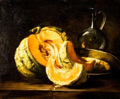 BRUNEL DE NEUVILLE (1852-1941). Melon. Huile...