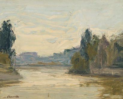 Alain CHEVRETTE (né en 1947). La Saône à...