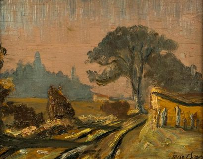 Jean CHOREL (1875 - 1946). Paysage de campagne....