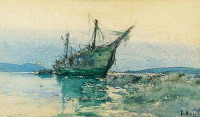 Emile APPAY (1876-1935). Trois mât échoué...