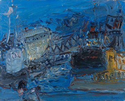 Jean FUSARO (Né en 1925). Sète bleue.1977....