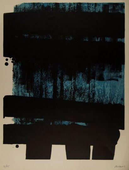 Pierre SOULAGES (né en 1919). Composition L n°36. Lithographie, signée en bas à...