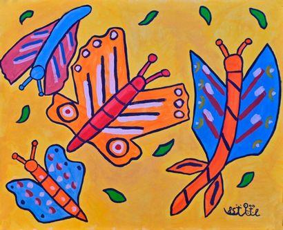 BAYA (1931-1998). Papillons, 1985. Gouache sur papier, signée et datée en bas à...