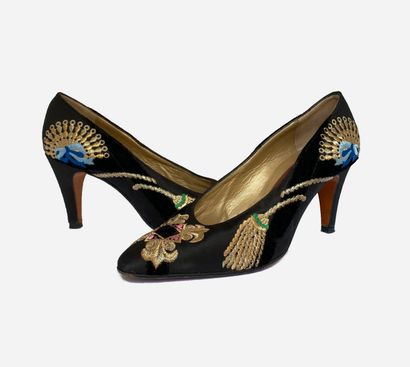 SERGIO ROSSI. Couture. Escarpins bimatière...