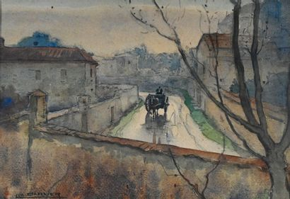 BARBIER Luc (1903-1989). Cart on the way...