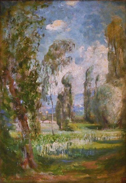 BAUDIN Eugene (1843-1907). Spring landscape....