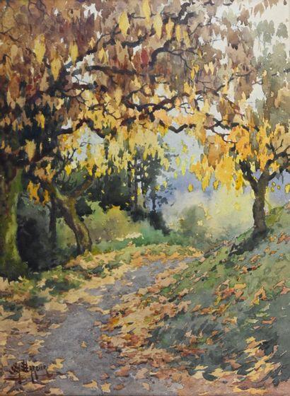 BARBIER Antoine (1859-1948). Way in autumn....