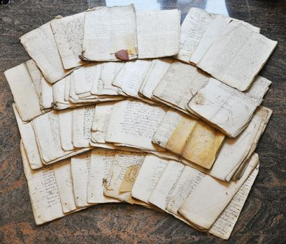 Set of about 80 handwritten documents from...