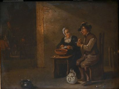 Dutch school of the 18th century. Cabaret...