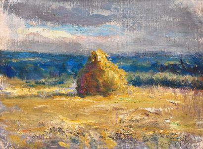 DREVON Jean (1889-1979). Haystack at dusk....