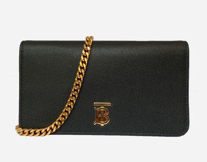 BURBERRY. Black grained lambskin leather...