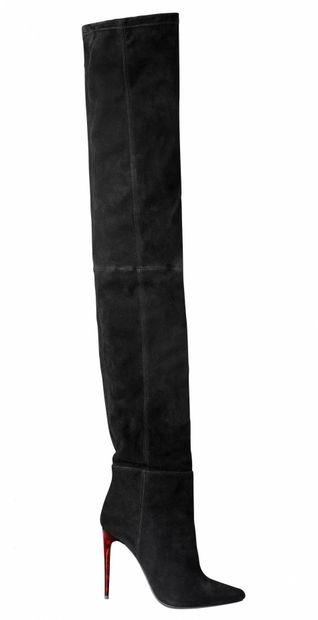 BALMAIN for H&M. Pair of black suede thigh-high...