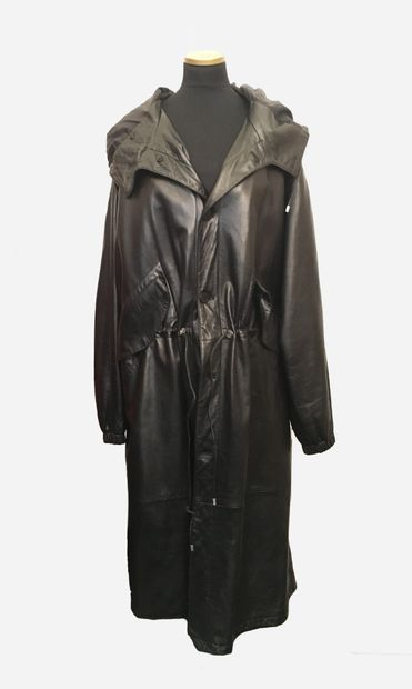 GIANNI VERSACE. Long black leather coat,...