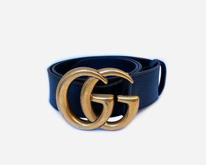 GUCCI. GG belt in black leather, buckle in...