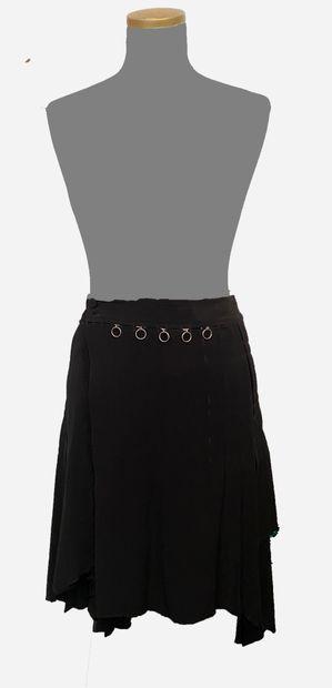 J-P Gaultier. Black virgin wool kilt style...