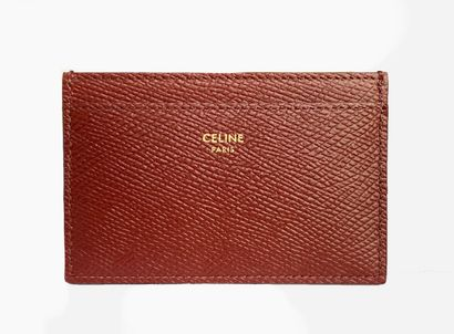 CELINE. Card case in burgundy grained leather,...