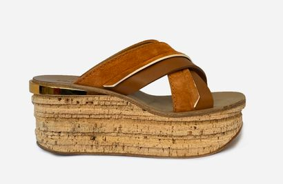 CHLOE. Wedge sandals, two wide straps in...