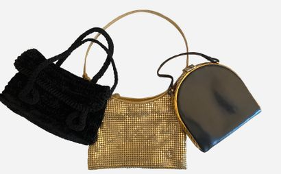 Set of three small vintage bags. 1) in black...