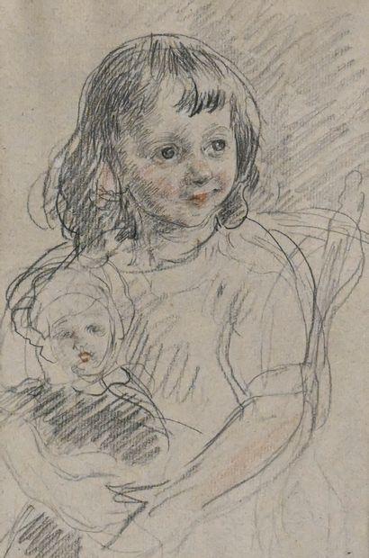 GUIGUET François (1860-1937). Fillette à...