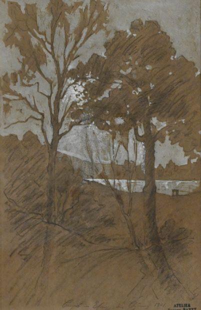 BAYET Eugène (1875-1937). Étang des chênes,...