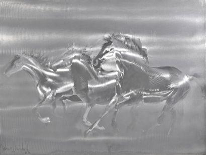 MICHEYL Mick (1922-2019). Trois chevaux galopant....