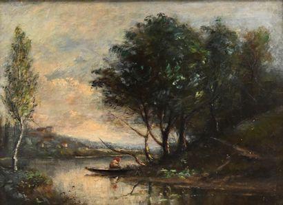 École française du XIXe. Pêcheur sur la rivière....