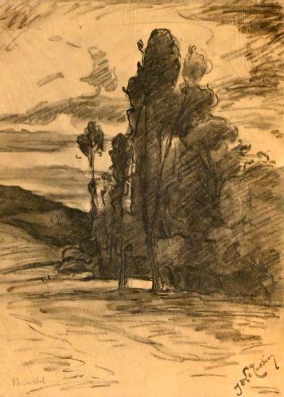 LE TESSIER Joseph (1867-1949). Paysage aux...