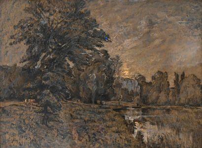 GAY Abel (1877-1961). Clair de lune sur l'étang...