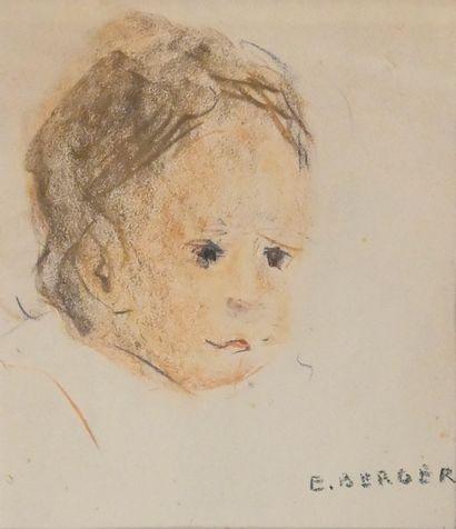 BERGER Edith (1900-1994). Portrait d'enfant....