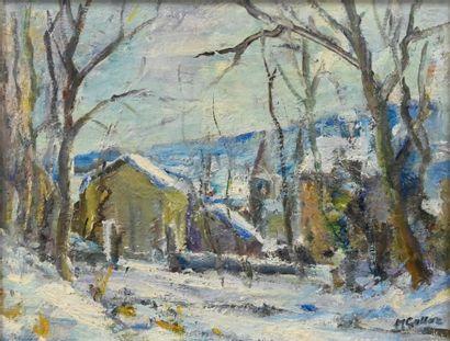 GATTAZ Marceau (1901-1993). Paysage de neige...