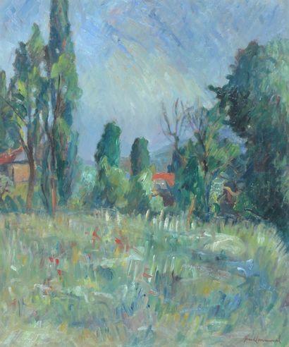 COMMUNAL Jean (1911-1982). Paysage de printemps...
