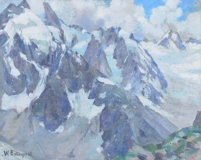 ESSLINGER Willy (1904-1983). Massif du Mont-Blanc,...