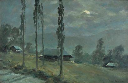 MÈGE Henri (1904-1984). Clair de lune aux...