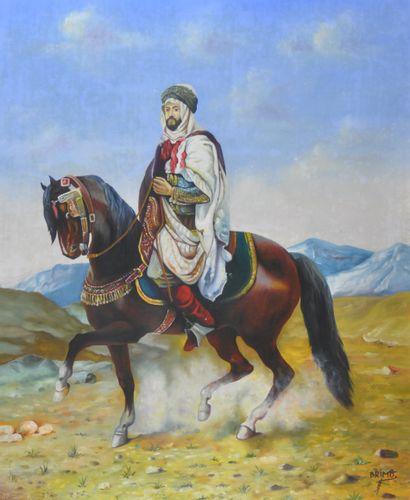 BRIMO (XXe). Cavalier arabe. Huile sur toile,...